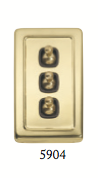 Tradco 'TOGGLE 3 SWITCH' Polished Brass Brown 5904 72mm x 115mm