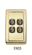Tradco 'TOGGLE 4 SWITCH' Polished Brass Brown 5905 72mm x 115mm