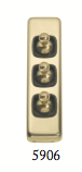 Tradco 'TOGGLE TRIPLE SWITCH' Polished Brass Brown 5906 30mm x 82mm