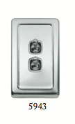 Tradco '2 TOGGLE SWITCH' Chrome Plate 5943 72mm x 115mm