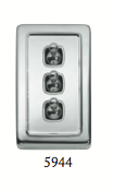 Tradco '3 TOGGLE SWITCH' Chrome Plate 5944 72mm x 115mm