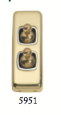 Tradco 'TOGGLE DOUBLE SWITCH' Polished Brass 5951 30mm x 82mm