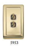 Tradco 'TOGGLE DOUBLE SWITCH' Polished Brass 5953 72mm x 115mm