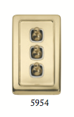 Tradco 'TOGGLE TRIPLE SWITCH' Polished Brass 5954 72mm x 115mm