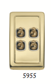 Tradco 'TOGGLE 4 SWITCH' Polished Brass 5955 72mm x 115mm