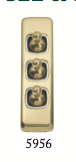 Tradco 'TOGGLE TRIPLE SWITCH' Polished Brass 5956 30mm x 108mm