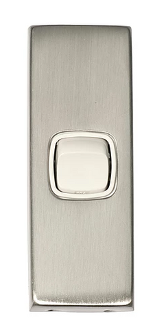 Tradco 5980  'ROCKER SWITCH' Stainless Steel White 5980 30mm x 82mm
