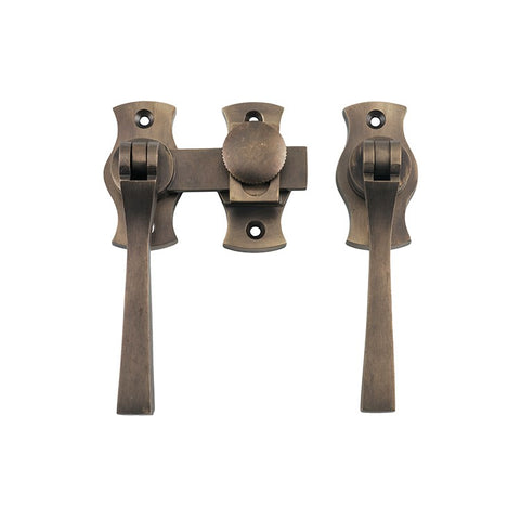 Tradco 'FRENCH DOOR FASTENER SQUARE' Antique Brass Backplate 6461