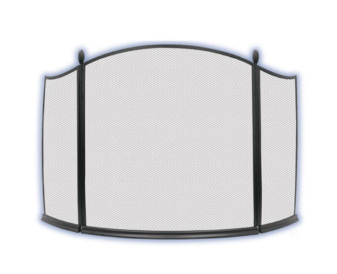 Melton Craft Ascot 3 Panel Black Firescreen H81cm x W137cm -  JC2001BK