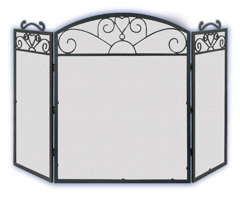 Melton Craft 3 Panel Black Cast Iron Screen H83cm x W130cm -  JC380LBK
