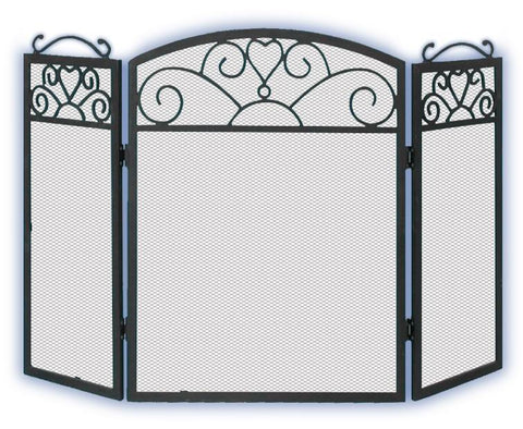 Melton Craft 3 Panel Black Cast Iron Screen H64cm x W97cm -  JC380SBK