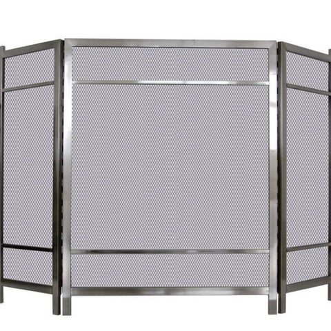 Melton Craft 3 Panel Firescreen Polished Silver H86cm x W129cm -  JC381SN
