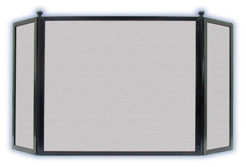 Melton Craft English Style 3 Panel All Black Fire Screen H79cm x W129cm JC3S26BK