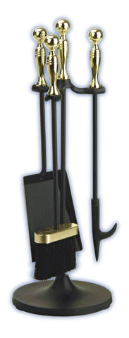 Melton Craft Black & Brass Mini 4 Piece Firetool Set H56cm - JC40PK