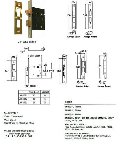 Jacksons Locks Sliding privacy mortice lock 60mm Indicate broach size