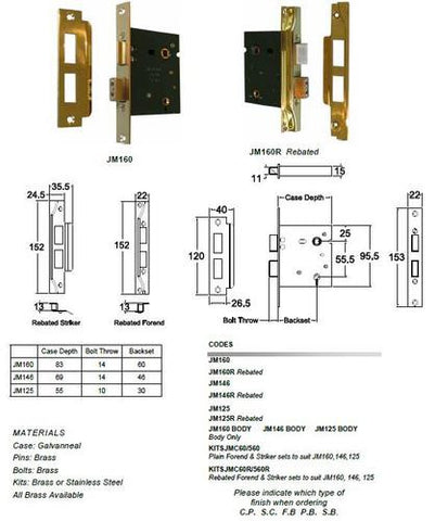 Jacksons Locks Rebated Privacy mortice lock 60mm backset Indicate broach size