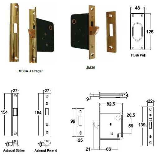 Jacksons Locks 2 Lever mortice  Astragal  Sliding 66mm backset