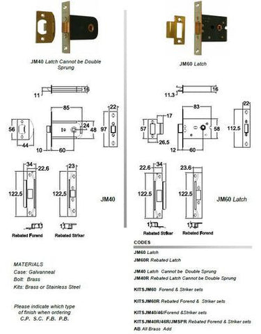 Jacksons Locks Rebated Latch Cannot be Double Sprung 60mm backset