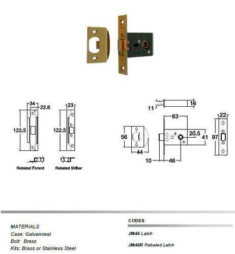 Jacksons Locks Latch 46mm backset