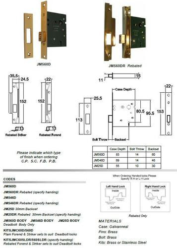 Jacksons Locks Deadbolt body only