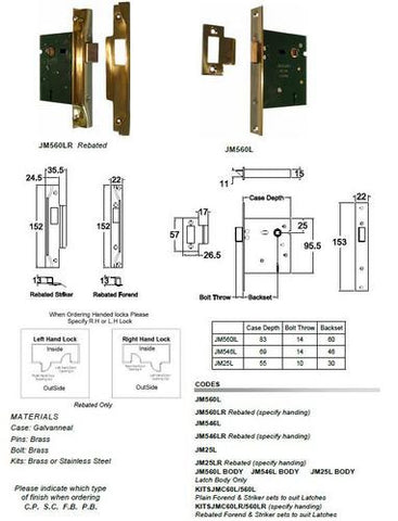 Jacksons Locks Rebated 5 lever latches 60mm backset Specify Left or Right Hand