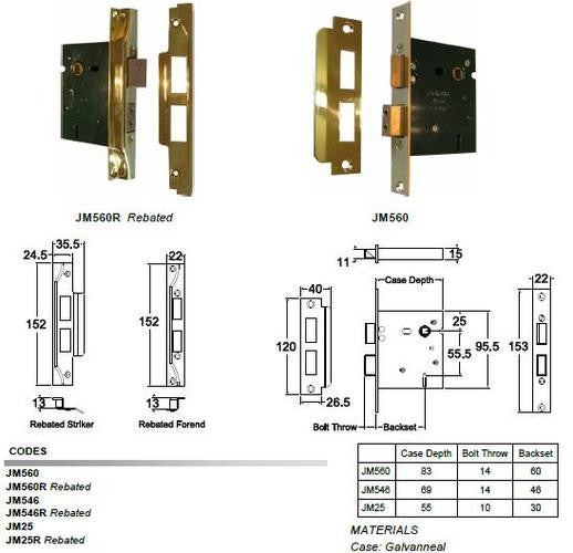 Jacksons Locks 5 Lever mortice locks 60mm backset