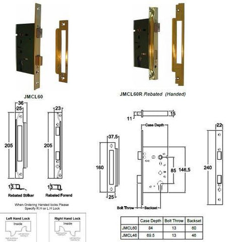 Jacksons Locks New long body rebated cylinder mortice lock 60mm