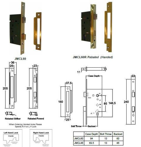 Jacksons Locks New long body cylinder mortice lock 60mm