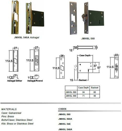 Jacksons Locks New Sliding Claw Astragal 5 lever Mortice locks 60mm backset