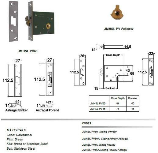 Jacksons Locks Sliding mortice claw privacy 46mm backset Indicate broach size