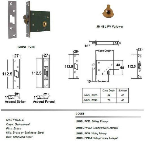 Jacksons Locks Sliding Astragal  claw privacy 60mm backset Indicate broach size