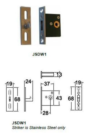 Jacksons Locks Mortice door privacy New 28mm backset Indicate broach size