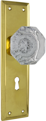 Tradco 'MILTON' Glass Knob LOCK Polished Brass 200mm x 54mm 0701