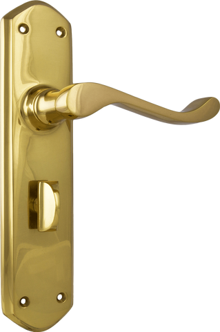Tradco 'WINDSOR' LEVER PRIVACY Polished Brass 200mm x 45mm 1042P