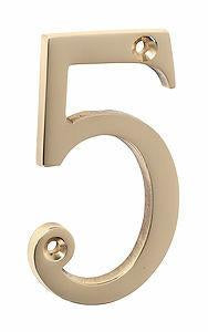 Tradco 'NUMERAL 5' Polished Brass 1395 75mm