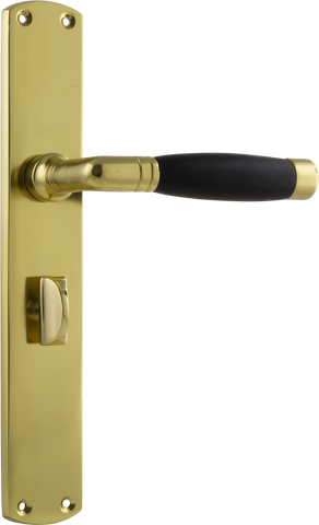 Tradco 'AMSTERDAM' Black Timber LEVER PRIVACY Polished Brass 225mm x 38mm 0629P