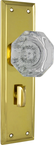 Tradco 'MILTON' Glass Knob PRIVACY Polished Brass 200mm x 54mm 0700P