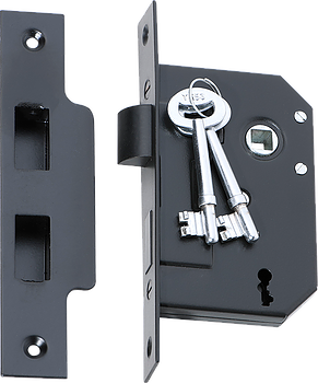 Tradco '3 LEVER MORTICE LOCK' Matt Black 2260 44mm