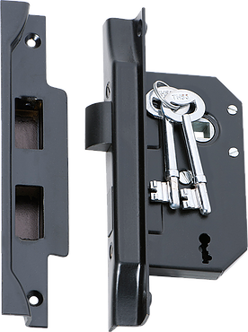 Tradco '3 LEVER REBATED LOCK' Matt Black 2264 44mm