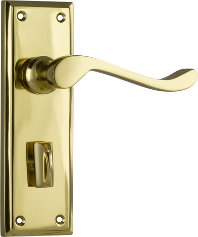 Tradco 'CAMDEN' LEVER PRIVACY Polished Brass 152mm x 50mm 1076P
