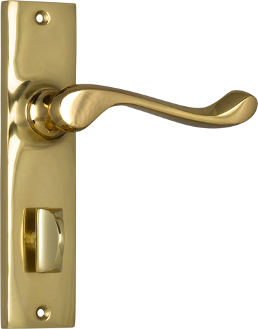 Tradco 'FREEMANTLE' LEVER PRIVACY Polished Brass 150mm x 35mm 1025P