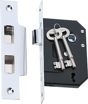 Tradco '3 LEVER MORTICE LOCK' Chrome Plate 2210 44mm