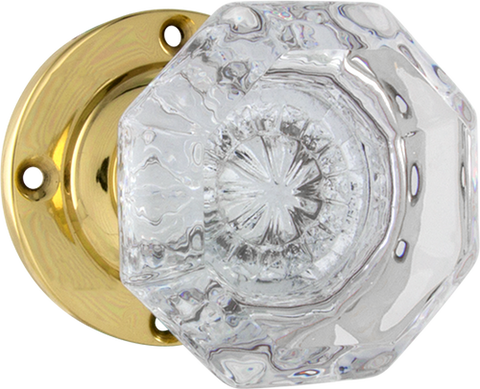 Tradco 'MILTON' Glass Knob On Rose Polished Brass 57mm x 54mm 0703