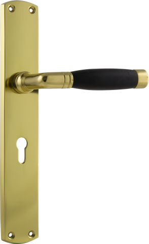 Tradco 'AMSTERDAM' Black Timber LEVER LOCK Polished Brass 225mm x 38mm 0630