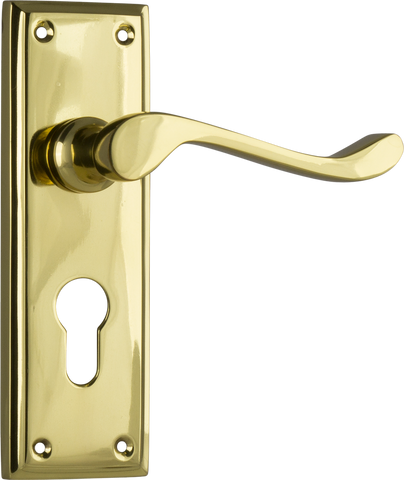 Tradco 'CAMDEN' LEVER EURO Polished Brass 152mm x 50mm 1076E