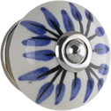 Tradco BLUE/WH LEAF HAND PAINTED KNOB 40mm 7621
