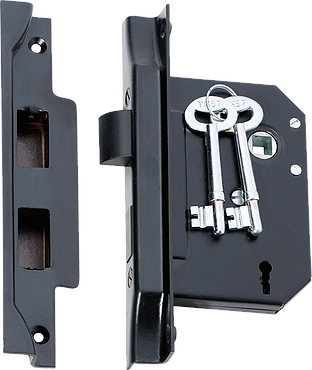 Tradco '3 LEVER REBATED LOCK' Matt Black 2265 57mm