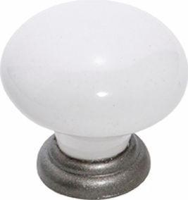 Tradco 'WHITE PORCELAIN' CUPBOARD KNOB Metallic Powdercoat 30mm 4165