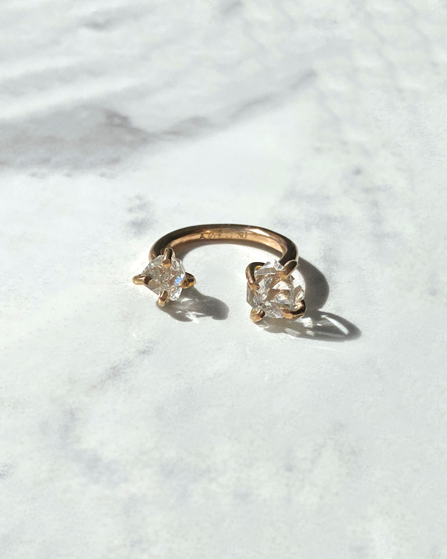 TWO MOONS RING - HERKIMER DIAMOND