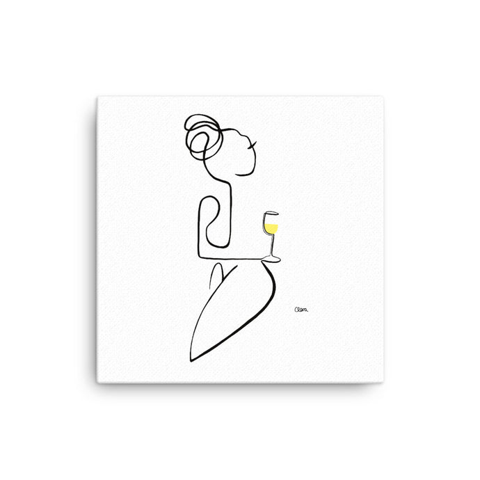 Nr. 5 auf Leinwand mit Weißwein #frauenamweinen - JUDITH CLARA women drawn out of one line